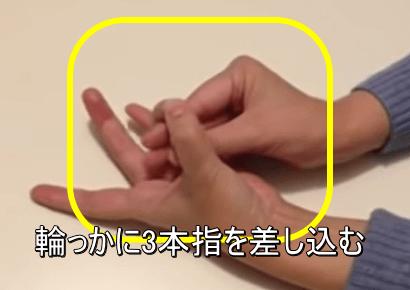 ステップ②輪っかに3本の指を差し込む
